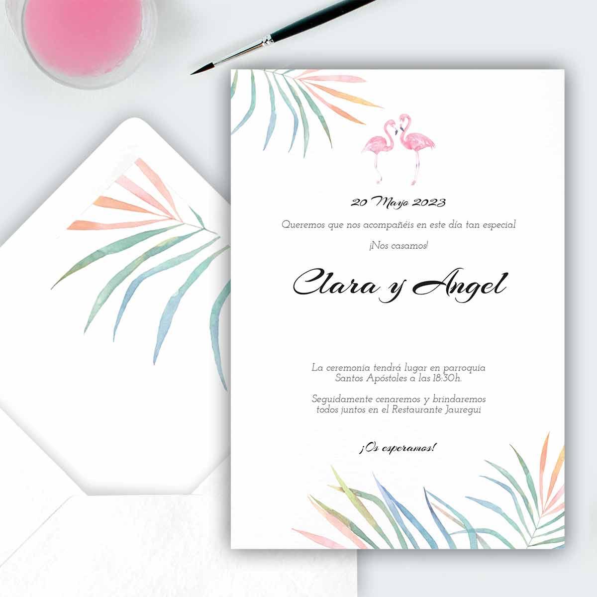 Invitación de boda Flamingo