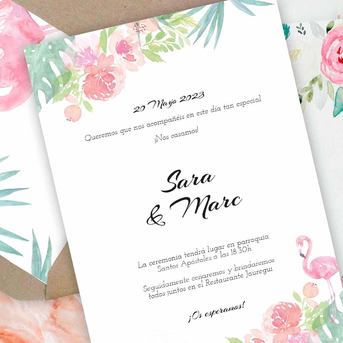 Invitación de boda Tropical Chic