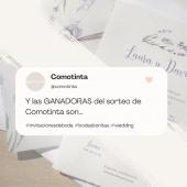 ¡Ya tenemos a nuestras ganadoras del SORTEO de @comotinta! #invitacionesdeboda 👰🤵 ✨✨ Primer premio ➡ 50 invitaciones de boda + 50 complementos son para... @ponxita1988 ✨ Segundo premio ➡ 50 invitaciones de boda son para... @dreseoane ✨ Tercer premio ➡ 50 complementos son para... @arrapsan¡¡Muchisimas felicidades a las ganadoras!! Nos hemos puesto en contacto con vosotras por Mensaje Directo 📲Gracias a todas/os por participar!!! 🙋♀️🙋♀️#comotinta #sorteocomotinta #invitacionesdeboda #invitacionesdeboda2021 #bodas2021 #bodas2022 #wedding #bodasbonitas #complementosdeboda